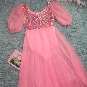 Vintage Pink Sequin Nylon Costume Dress